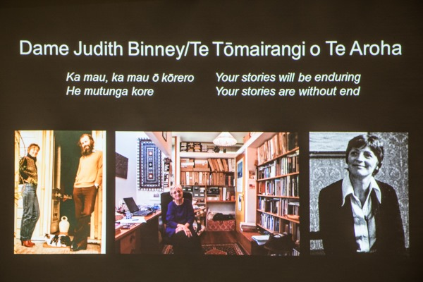Three photos of Judith Binney